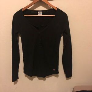 Pink Victoria's Secret sequined thermal Henley